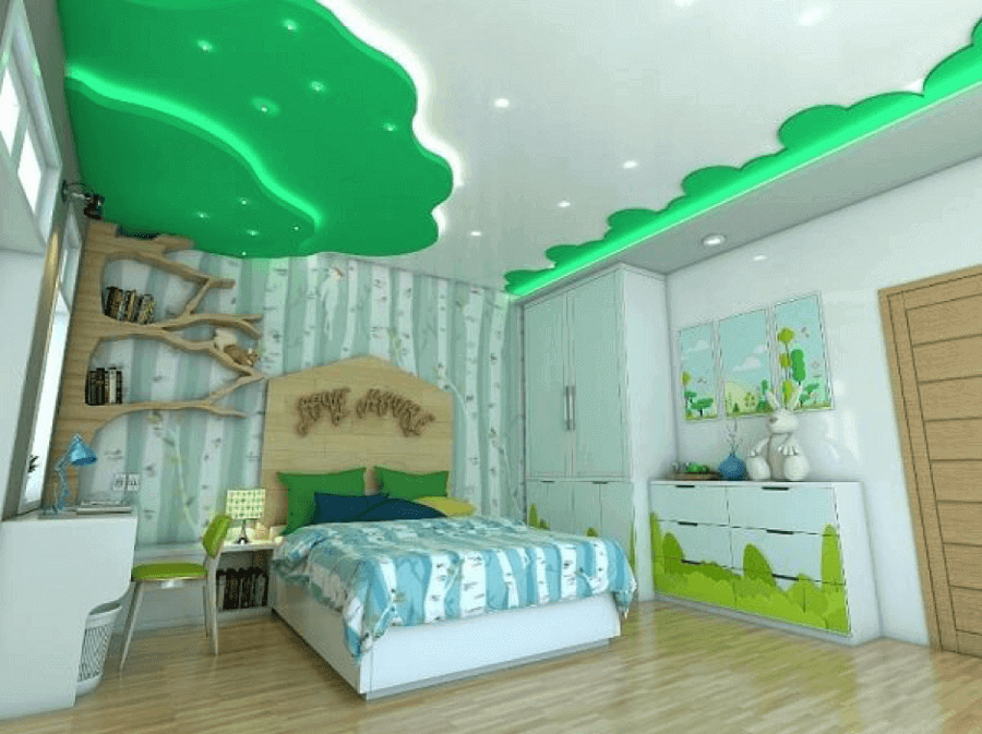 trần thạch cao đẹp cho phòng ngủ trẻ em