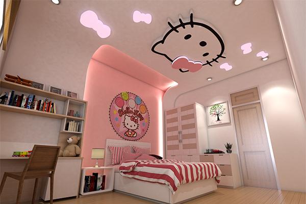 Mẫu trần thạch cao phòng ngủ cho bé gái