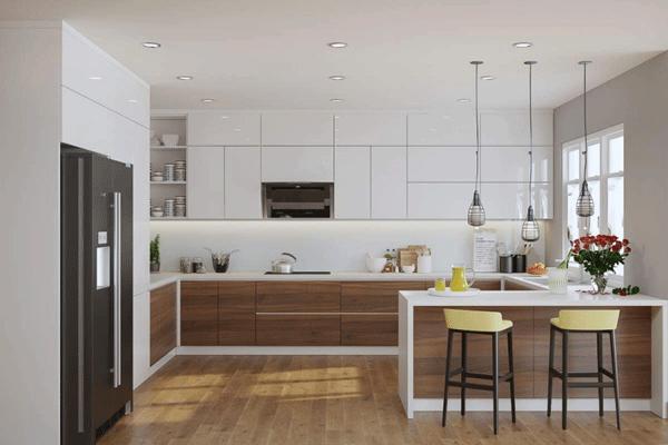 Mẫu trần thạch cao phòng bếp đơn giản